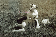 A boy and his dog. 8 x 10 Vintage Photo Reprint Ships Free.