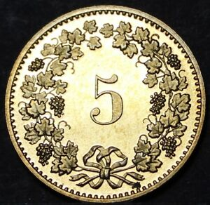 Switzerland 5 Rappen, 1985~Rare Proof~Only 12,000 Minted