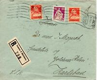 Switzerland 1932 Registered Surface Cover from Zurich to Karlsbad 21 March 1932