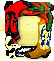 """Western Metal Hand Painted Cowboy Boot Rodeo Frame 3"""" x 5"""""""