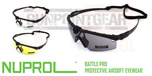 Nuprol Battle Pro Protective Airsoft Eyewear Glasses Black Frame - Free Delivery