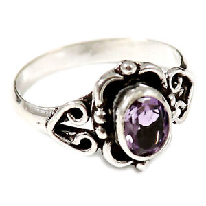 Amethyst Faceted Solid 925 Sterling Silver Solitaire Ring Jewelry GESR186M