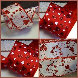 Valentines Day Wedding Glitter Heart Satin Ribbon Wire Wired Edge Red White.