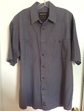 Woolrich Short Sleeve Cotton Button Down Shirt L Purple C5