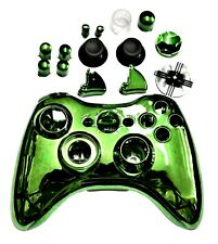 New Chrome Green Shell Repair Kit for Microsoft XBox 360 Wireless Controller UK
