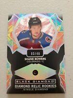 Shane Bowers 2020-21 Upper Deck Black Diamond Ruby Diamond Relic Rookie 3/49 Avs