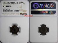 Switzerland Bronze 1913 B 1 Rappen NGC MS64 BN  HELVETIA KM# 3.2