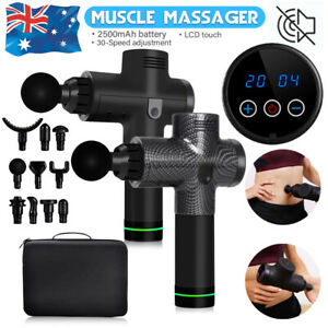 Massage Gun Electric Massager LCD Vibration Muscle Therapy 6 Heads Percussion