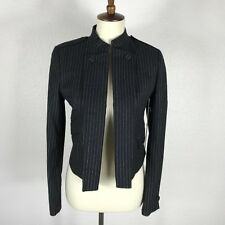 Band Of Outsiders Black Ivory Striped Open Front Lined Coat Jacket Blazer Sz 1