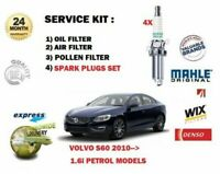 FOR VOLVO S60 1.6i 2010-> OIL AIR POLLEN 3 FILTER SET + SPARK PLUGS SERVICE KIT