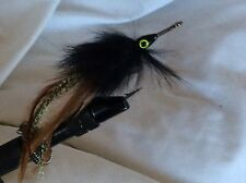 6 Tarpon Flies Black Fur and Tan flashtail Stainless Saltwater Freshwater 1023