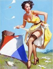 Sexy Pinup Girl 1940's Kite Flying  Refrigerator / Tool Box Magnet