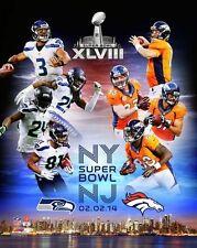 2014 Super Bowl XLVIII Seahawks-Broncos Russell Wilson-Peyton Manning 8x10 photo
