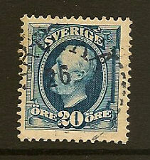 SWEDEN: 1911 King Oscar 20 ore blue no watermark   SG 55  used
