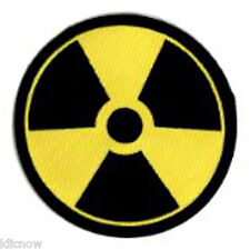 "RADIATION WARNING EMBROIDERED PATCH  7.5CM Dia  (3"" Dia"")"