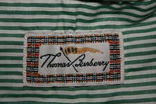 Men THE THOMAS BURBERRY Long Sleeve GREEN STRIPE SHIRT Button Down Collar SIZE L
