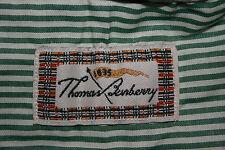 De hombre Manga Larga Verde Raya Thomas Burberry camisa botones en el cuello Talla L
