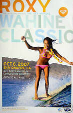 Vtg.2007 Roxy Woman/Girl Surfer Surfing Contest Surfboard Art Poster-San Onofre