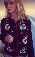 P Medium Black Embellished  Snowman Bead Designer Originals Bling Cardigan
