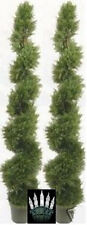 """2 ARTIFICIAL CYPRESS IN OUTDOOR TREE 6'4"""" TOPIARY PLANT WITH CHRISTMAS LIGHTS"""