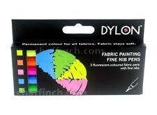 Dylon De Pintura De Tela Fina Nuevo En Caja De Plumas-Fluorescentes De Colores-Juego De 5-Libre De Envío