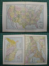United States Ontario Vintage Original 1895 Werner Company World Atlas Map Lot