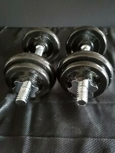 Brand New Adjustable Dumbbells Pair Weight Set- Excellent- Cast Iron! Strength!