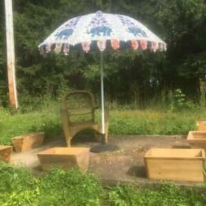 """Hippie Garden Parasol Embroidered Indien Outdoor Sun Shade Patio Umbrella 72"""""""