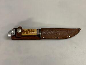 VINTAGE WESTERN HUNTING KNIFE + CASE | Boulder CO USA | Patented | Stag Handle