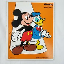 Vintage Playskool Walt Disney Mickey Mouse & Donald Duck Wooden Tray Puzzle