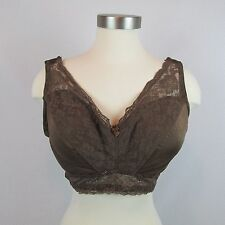1X Rhonda Shear Pin Up Girl Lace Leisure Bra with Pads Brown Pull-on V Neck New