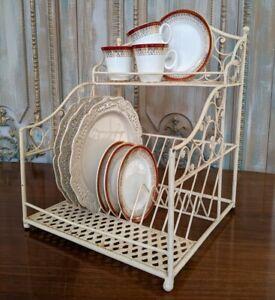 New Cream Shabby Chic French Metal Display PLATE Cups Shelf Kitchen Storage