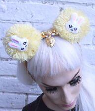 Bunny corona Amarillo POM POM corazón Kawaii Lolita Pastel Goth Alice Banda Festival
