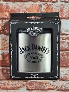 BNIB Genuine Jack Daniels Merchandise Boxed Stainless Steel Hip Flask 6oz