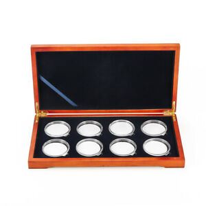 Oak Coin Wood Case Display Box Wooden Parts Storage Collection Holders for 8