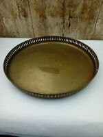 Vintage possibly Antique 12.75 inch Brass Tavern Inn Pub Tray with Gallery Edge
