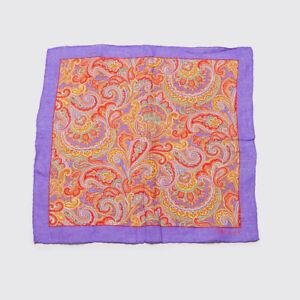 Polo Ralph Lauren Linen Pocket Square Purple Red Yellow Paisley