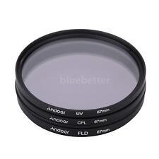 Andoer 67mm UV+CPL+FLD Circular Circular Polarizer Filter Kit Set for DSLR Lens