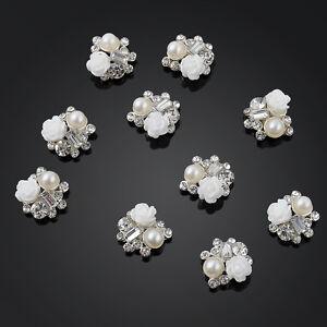 10pcs White Rose 3D- Latest Nail Art Decor DIY Alloy Jewelry Glitter Rhinestone