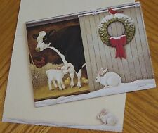 Lowell Herrero Art Barn Animals cow lamb rabbit chicken Lang Christmas Card 6ct