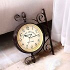 Antique Quartz Battery Double Sided Wall Clock Outdoor Home Station School Clock