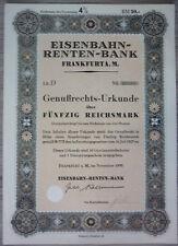 Aktie, Eisenbahn Rentenbank 1930                                      (Art.3239)