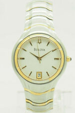 Mens BULOVA 98G99 Two-Toned White Patterned Dial Date 36mm Watch-New Battery