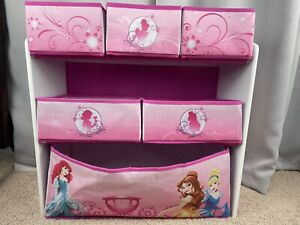 Disney Princess Multi Bin Toy Box Organizer Storage Girls Kids Furniture New