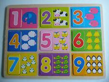 Holzspielzeug Holz Einlege Puzzle Zahlen Holzpuzzel Zahlenpuzzel 11tlg