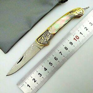 Folding Knife Pocket EDC Hunting Survival Tactical Damascus Steel Copper Handle