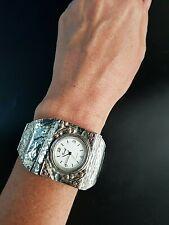Sterling Silver 925 Massive Watch Bracelet Women's Israel Gold trim Garnet HUGE