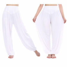 Women Plain White Vintage Harem Pants Cotton Cotton Loose Baggy Pocket Pant