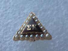 Antique 14k Solid Gold Sigma Kappa Sorority Pin Badge w/Seed Pearls