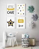 Set of 4 Little Man Cave Stars Mustard & Black Prints Nursery Boys Room Wall Art